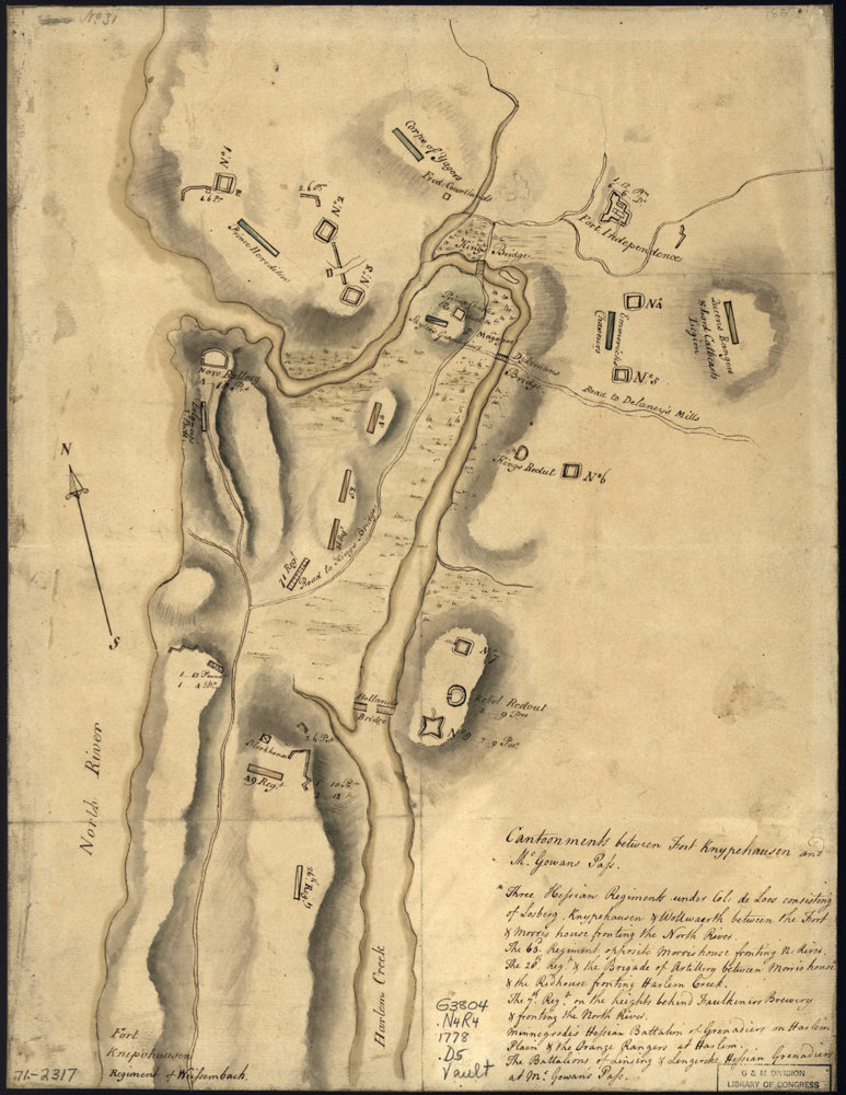 A map shows parts of northern Manhattan and the northwest Bronx during the Revolutionary War.