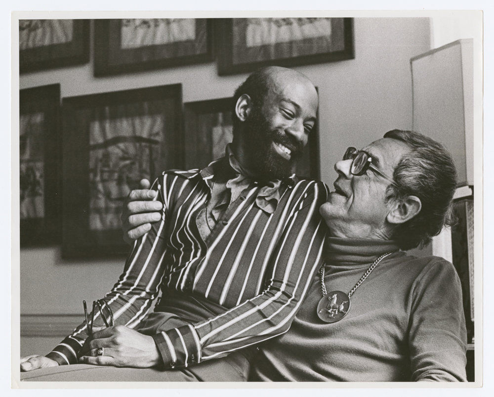 Jamen Butler, left, and Tom Malim enjoy a moment together in a 1971 photograph by Kay Tobin Lahusen, which is included in the exhibition 'Love & Resistance: Stonewall 50' at the New York Public Library's main branch through July 13.