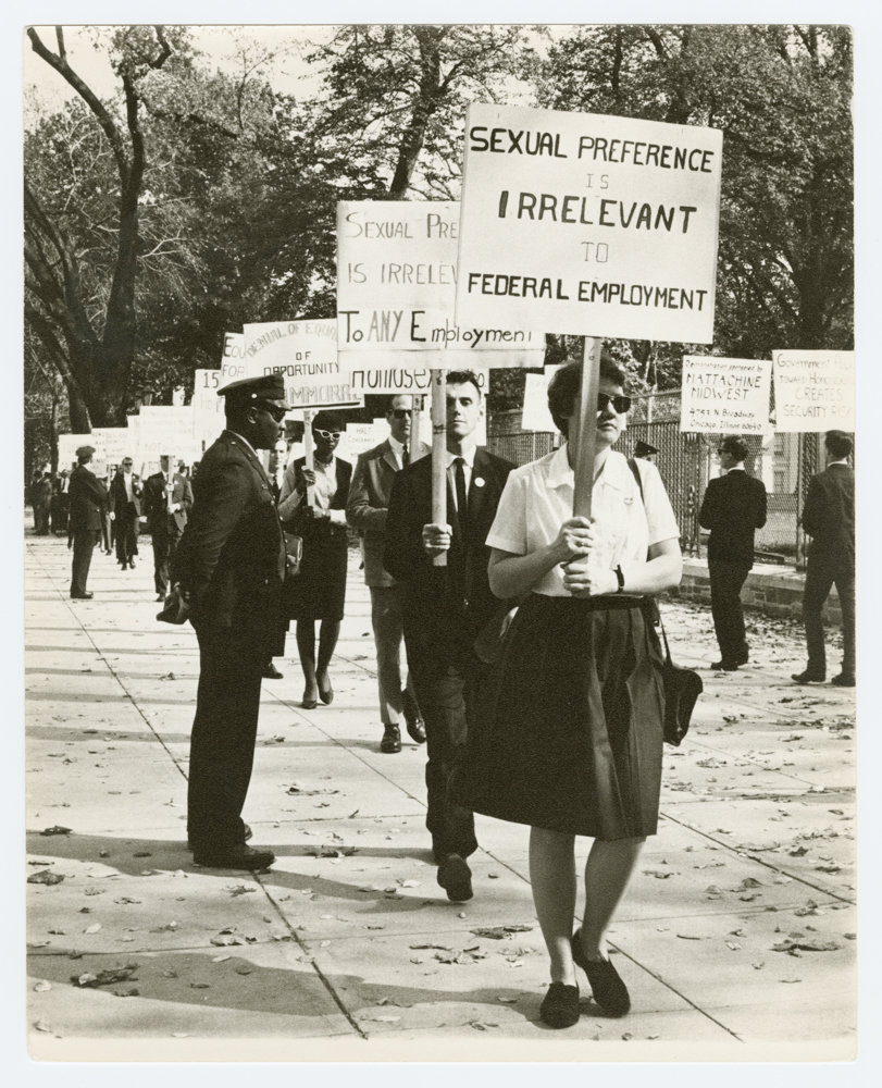 Kay Tobin Lahusen photographed Ernestine Eckstein and Barbara Gittings picketing outside the White House in 1965, an image now included in 'Love & Resistance: Stonewall 50,' an exhibition at the New York Public Library's main branch through July 13.