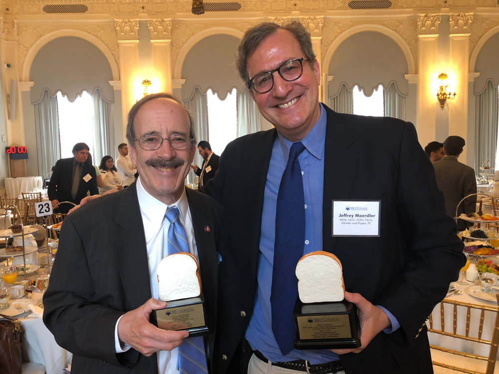 U.S. Rep. Eliot Engel, left, and Jeffrey Moerdler were recipients of awards from The Met Council on Jewish Poverty. Engel won the Fighting Hate and Anti-Semitism Award while Moerdler was named volunteer of the year.