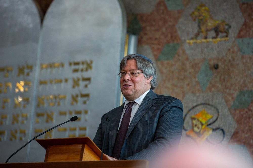 Rabbi Thomas Gardner reflects on Judith Sonett's energy during a memorial service for her at the Riverdale Temple.