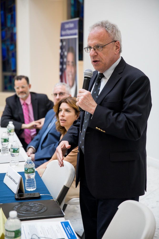 Assemblyman Jeffrey Dinowitz, here speaking at a recent town hall about the upcoming census, authored a bill that would force the MTA to install elevators in subway stations that aren't currently accessible to people with disabilities.