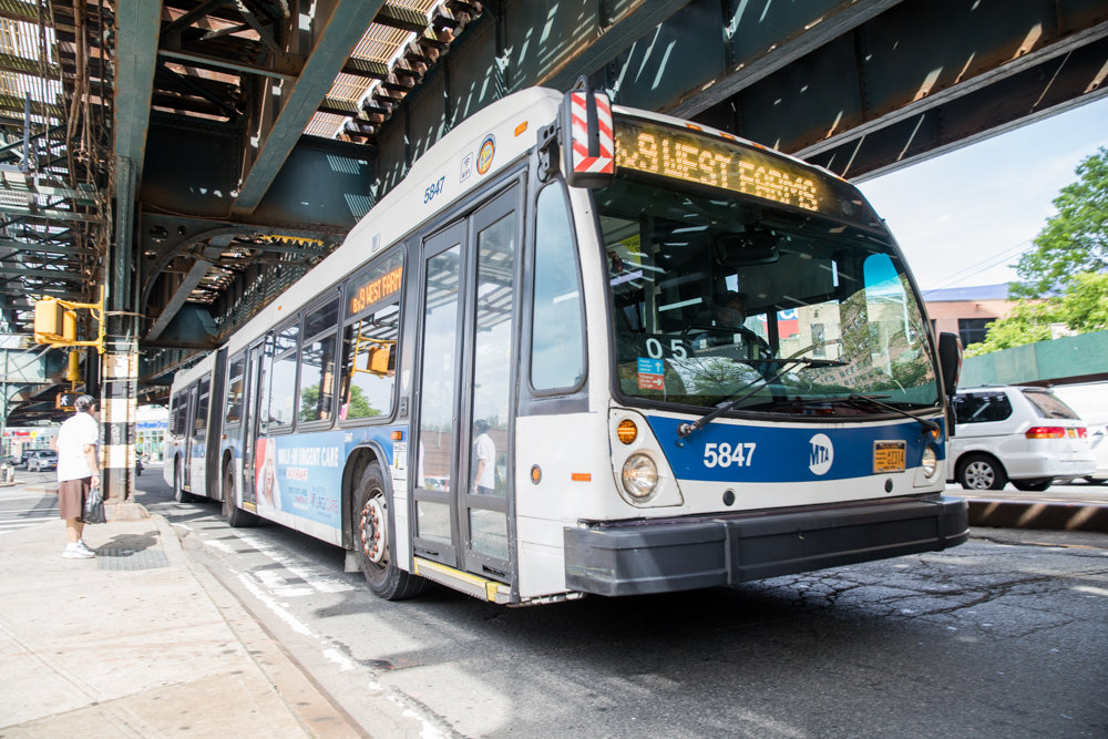 A Bx9 travels south along Broadway, part of a corridor that could get significantly more crowded if the city's transportation department installs bus lanes between West 225th and West 230th streets.