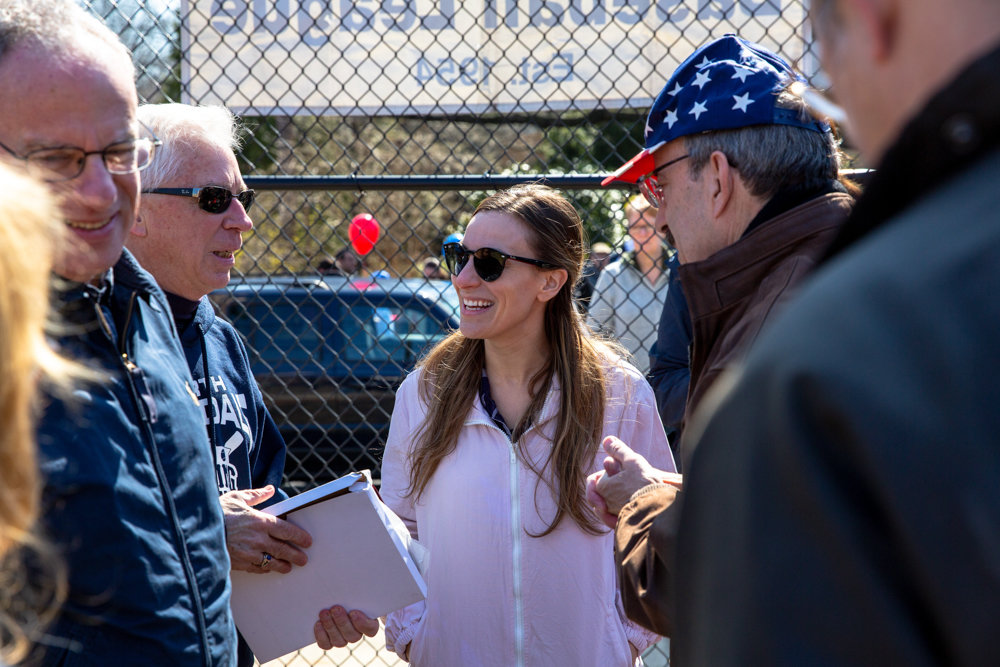 State Sen. Alessandra Biaggi, Assemblyman Jeffrey Dinowitz and U.S. Rep. Eliot Engel await the players at Sid Augarten Field for the start of the North Riverdale Baseball League season in April. Biaggi's chief of staff, Andrew Mutnick, resigned May 10. She fired her deputy chief of staff, Christian Amato, on May 31.