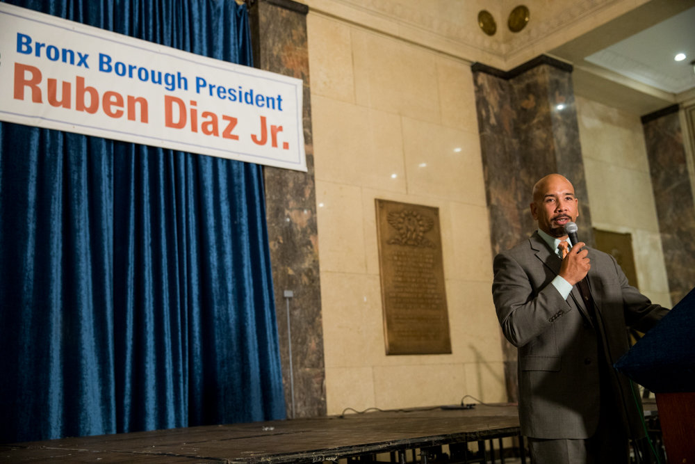Bronx borough president Ruben Diaz Jr., at a news conference about elder abuse, speaks about the borough's commitment to helping safeguard the elderly.