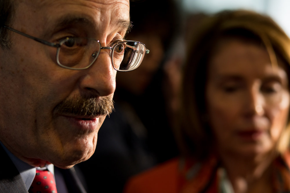 U.S. Rep. Eliot Engel responds to a question from members of the media after a press conference with then House Minority Leader Nancy Pelosi at the Hebrew Home at Riverdale last year. Engel hasn't faced a substantial primary challenger in decades, but Andom Ghebreghiorgis is looking to change that.