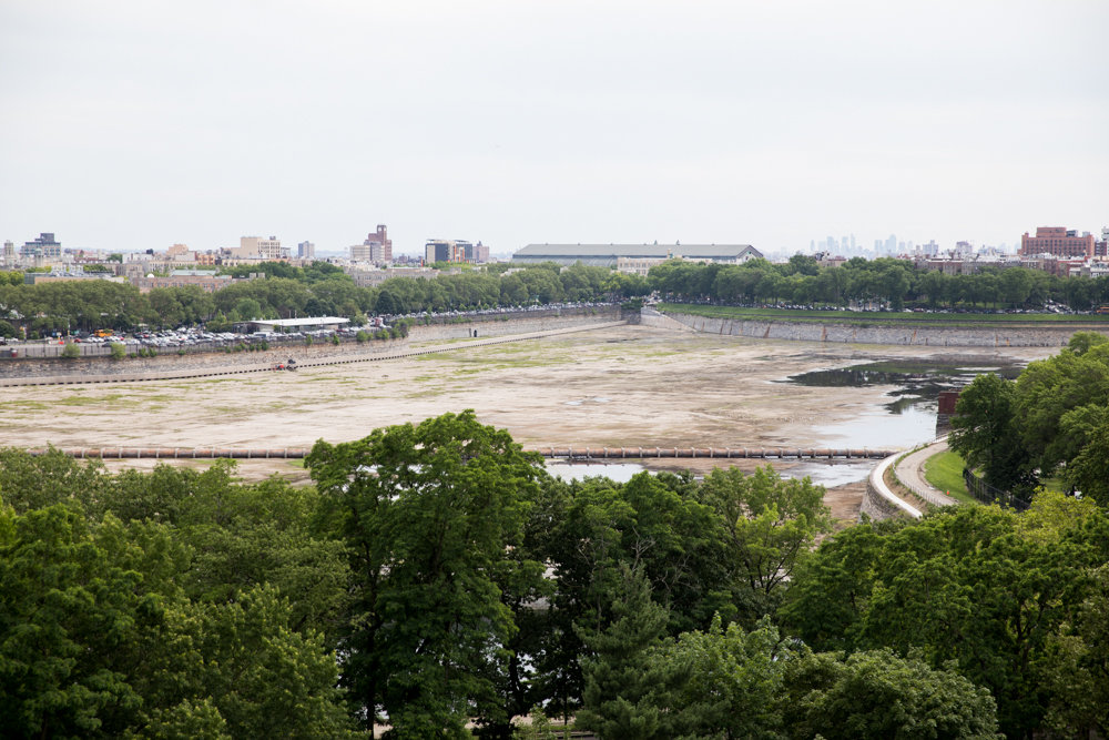 The Jerome Park Reservoir's south basin has seen better days. Currently empty for repair work, the south basin will be full once that work is complete, according to the city's environmental protection department. A full south basin means the north basin will be permanently empty as a failsafe, earning the ire of its neighbors.