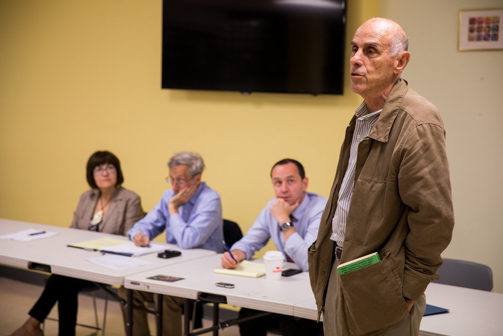Louis Kleinman, community liaison for the Waterfront Alliance, gives a short presentation on environmentally conscious construction practices at the end of Community Board 8's special greenway committee meeting June 12.