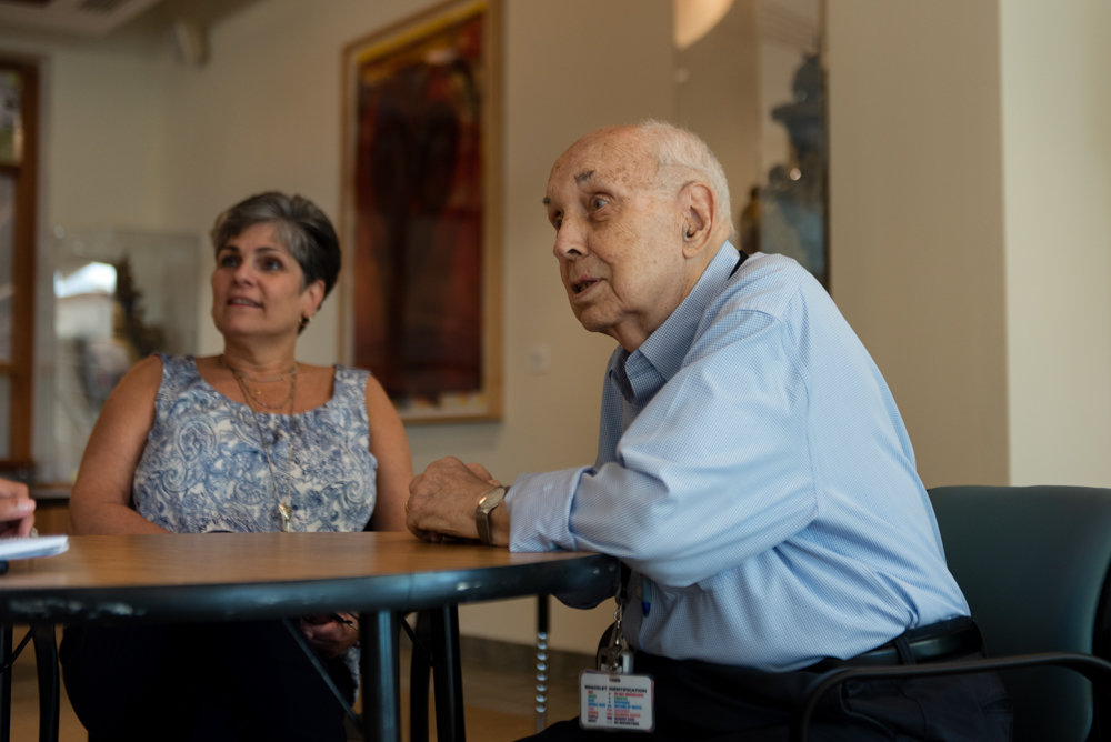Jerry Schneider has been volunteering at the Hebrew Home at Riverdale for the last eight years. Josephine Catalano, Hebrew Home's volunteer services director, says the 92-year-old's contribution to the Palisade Avenue community is invaluable.