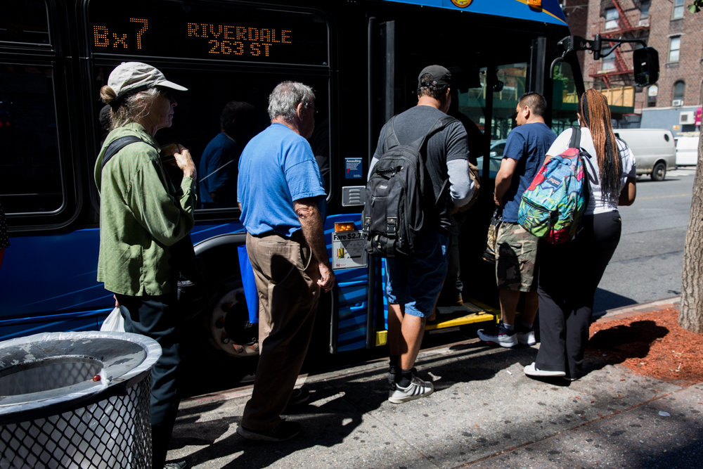 The majority of the city's bus riders board through the front door and pay the fare, like those waiting to board a Riverdale-bound Bx7 at West 231st Street and Broadway. Yet, for the first three months of 2019, the MTA estimates that nearly a quarter of all riders evaded paying the bus fare, resulting in a loss of approximately $36 million.