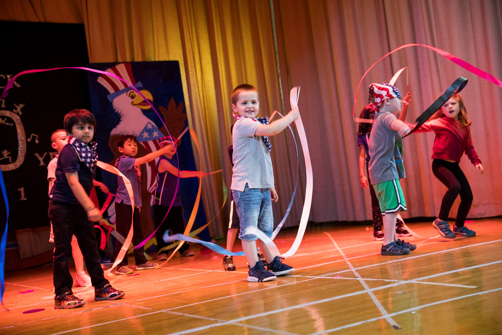 P.S. 81 students twirl streamers during a dress rehearsal for 'P.S. 81 Looks Back,' a 20-year retrospective of the school's theatrical productions.