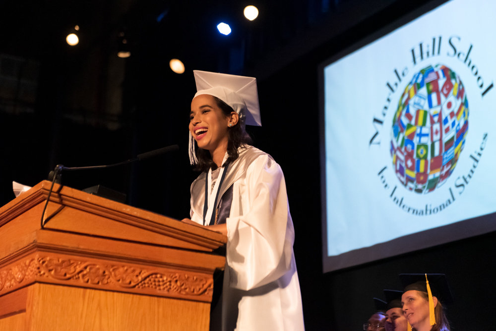 Angela Veras Oriach delivers her valedictorian address during the graduation ceremony of Marble Hill High School for International Studies.