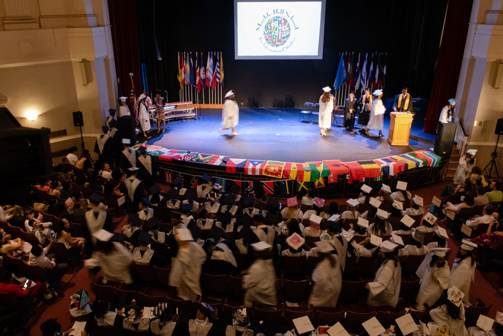 Graduating seniors of Marble Hill School for International Studies are called to the stage to receive their medals in the Hayes Auditorium at the College of Mount Saint Vincent.