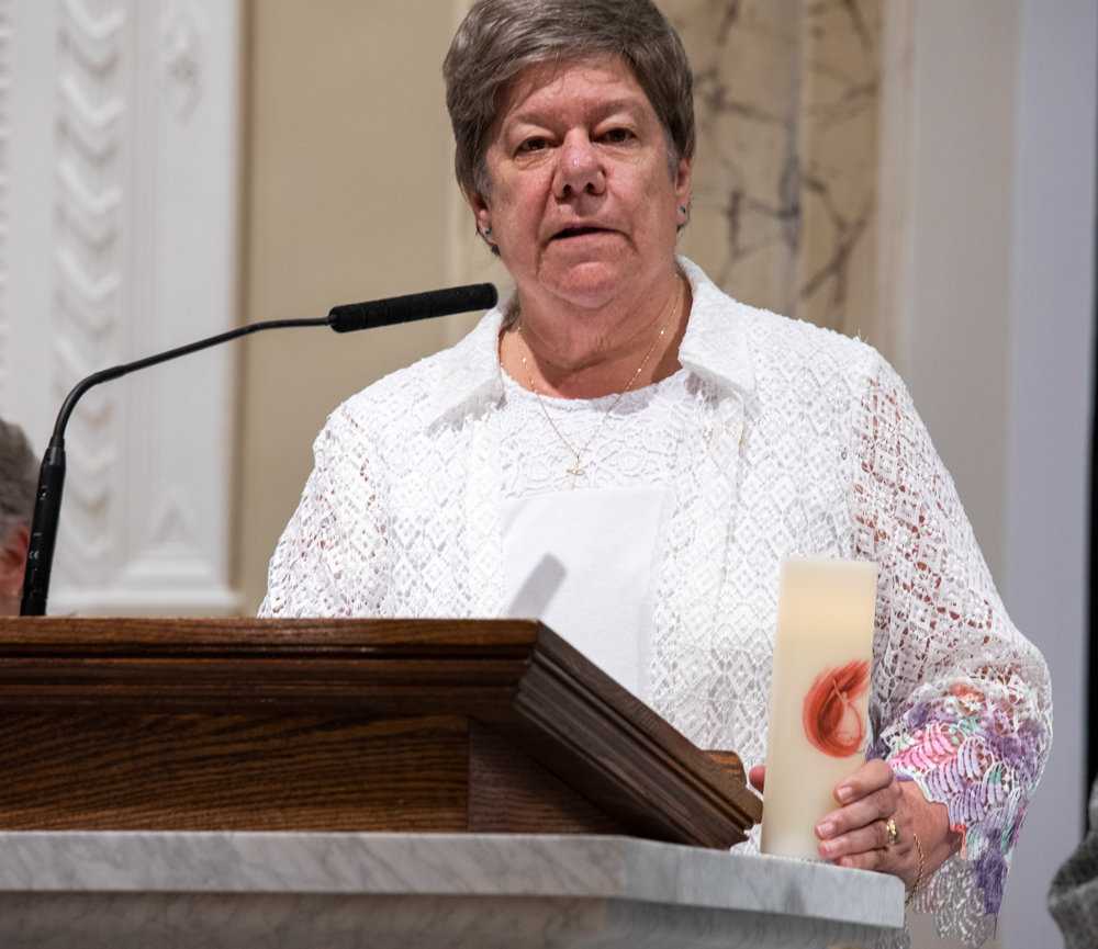 Sister Donna Dodge, the newly elected president of Sisters of Charity of New York, gives her inaugural speech during the transfer of leadership ceremony.