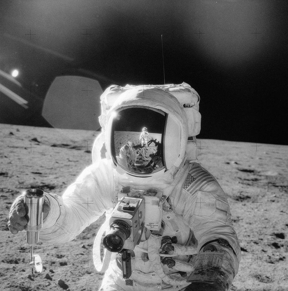 Astronaut Charles Conrad took a photo of his fellow moonwalker Alan Bean on the moon's surface during the Apollo 12 mission, the second voyage to the moon in 1969. This image is included in the exhibition 'A Century of Lunar Photography and Beyond,' on display at the Hudson River Museum until Jan. 12.