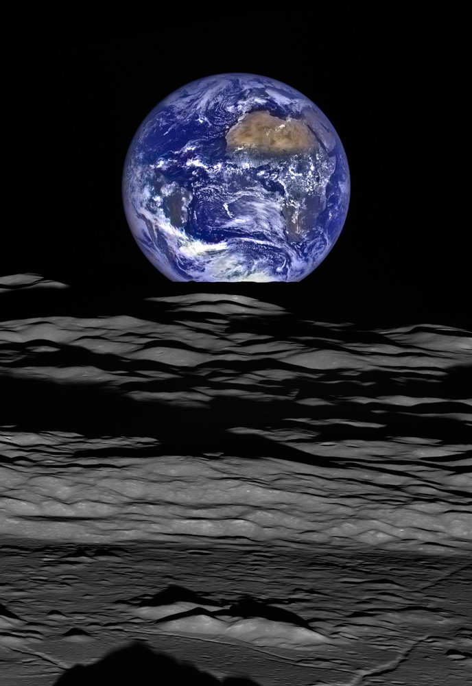 This composite image shows the moon's northern polar region set against an image of the Earth.
