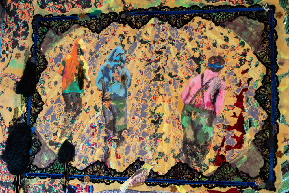 Lina Puerta's tapestry 'Broccoli Crop Workers,' a portion of which is shown here, is included in the exhibition 'Figuring the Floral,' on display at Wave Hill through Dec. 1.