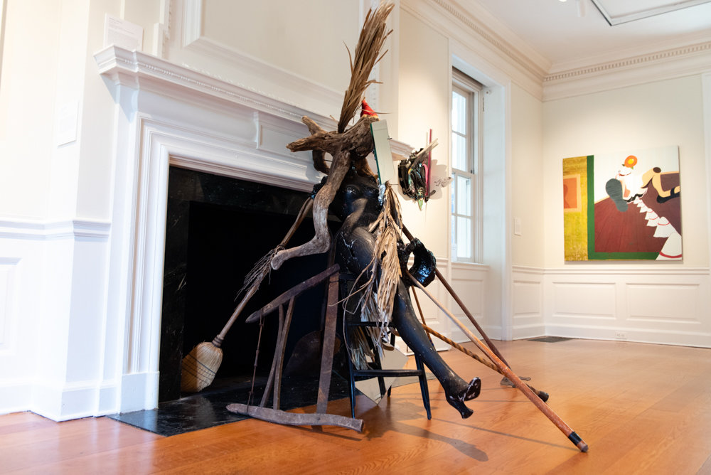 Abigail DeVille's mixed media sculpture 'And the Migrants Kept Coming,' left, and Alexandria Smith's 'Procession to the Rooting Place,' are included in the group exhibition 'Figuring the Floral' at Wave Hill.