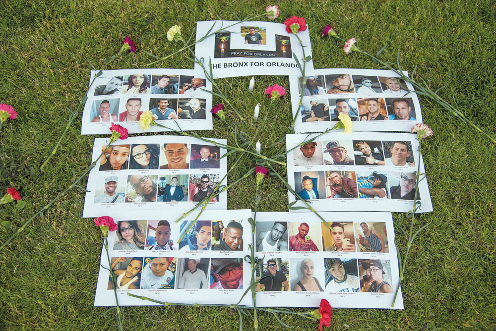 A makeshift memorial for the 49 victims of the Pulse nightclub shooting in Orlando, Florida, in 2016 rests on the ground during a vigil at the Bronx County Courthouse. A recent spike in mass shootings has led to a renewed debate about gun control legislation.