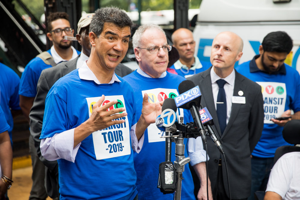 Councilman Ydanis Rodriguez, chair of the council's transportation committee, talks to reporters before kicking off the annual Riders Respond Transit Tour.