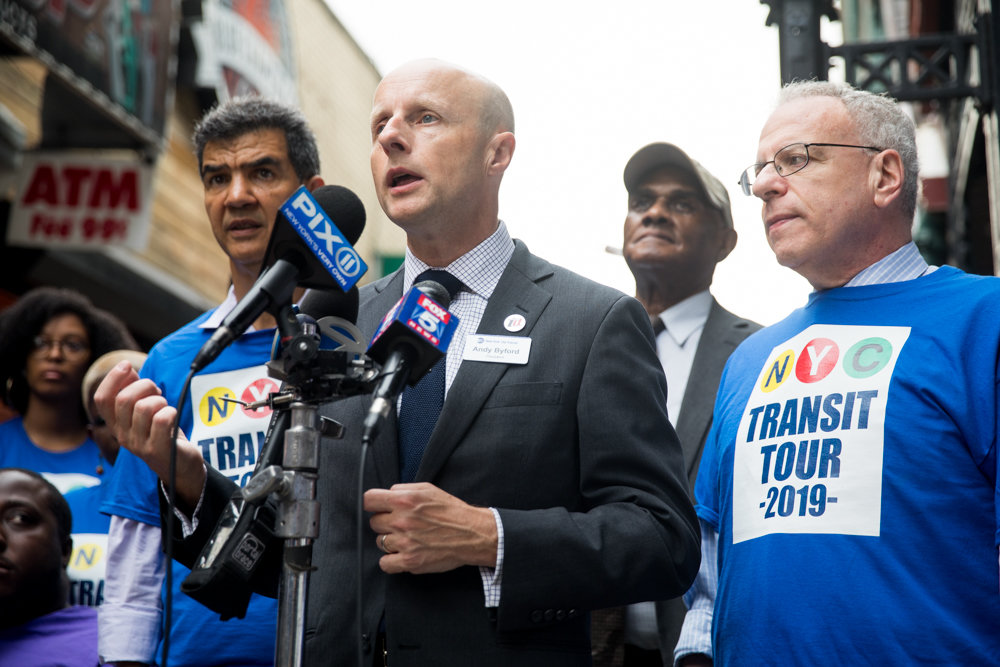 New York City Transit Authority president Andy Byford, flanked by Councilman Ydanis Rodriguez and Assemblyman Jeffrey Dinowitz, acknowledges that the subway system still has a long way to go to be what commuters want, but touted improvements like a better on-time rate for trains.