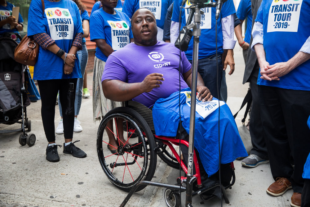 Dustin Jones, a member of Center for Independence of the Disabled New York, says it can be hard for disabled people to live in certain areas of the city where subway stations do not have elevators.