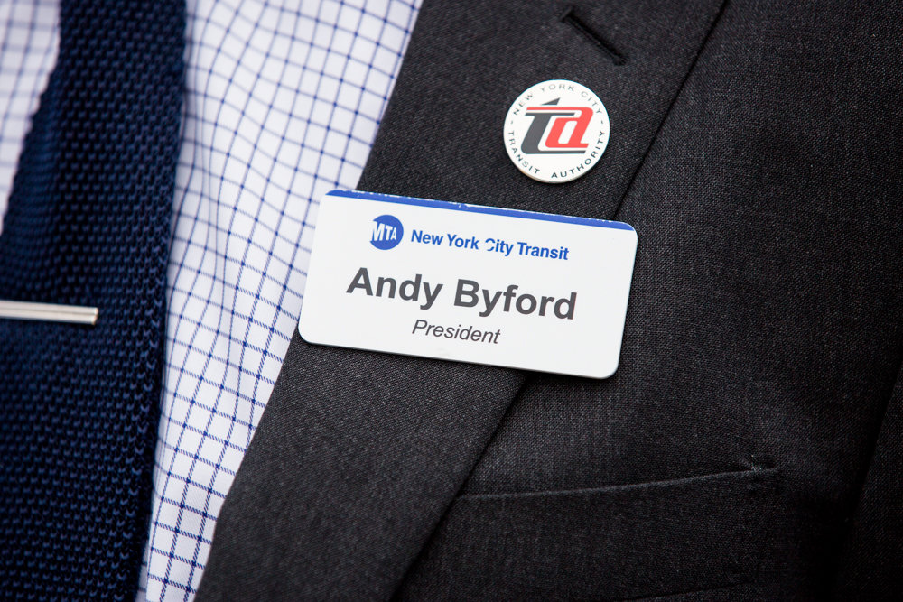 New York City Transit Authority president Andy Byford wears his nametag wherever he goes, and often hears feedback from commuters during his daily travels. The reviews are often mixed, but he is humbled whenever he hears positive feedback.
