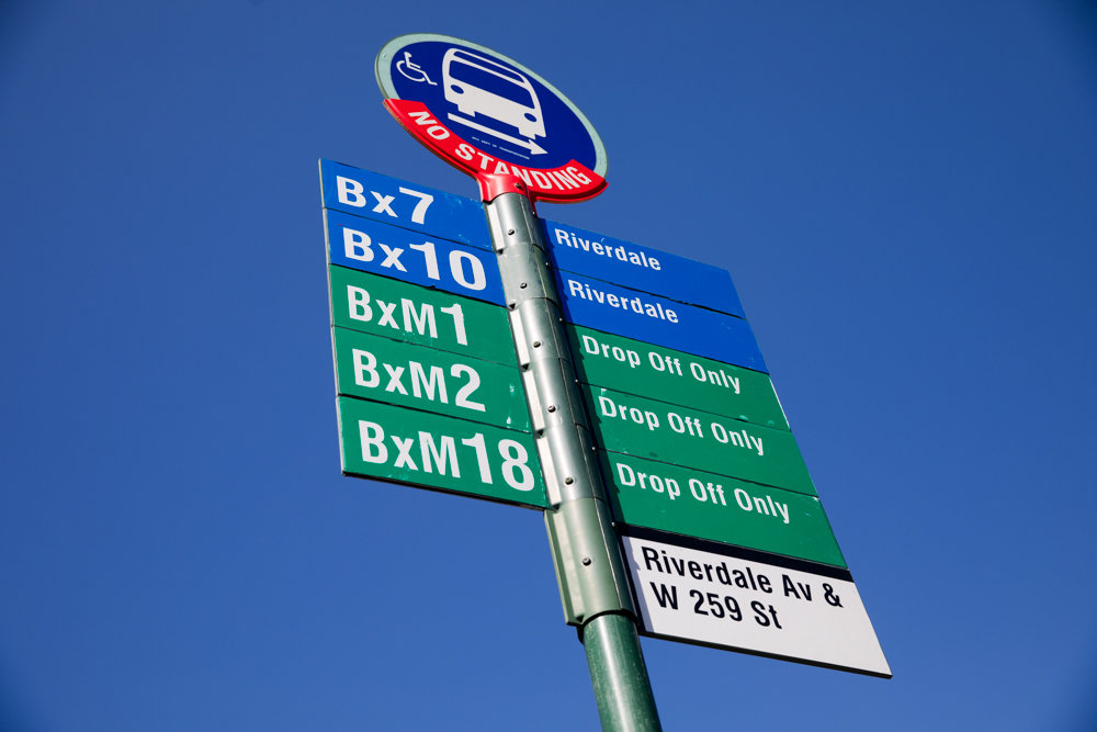 A bus stop sign at the southbound stop at Riverdale Avenue and West 259th Street incorrectly states that it is a drop-off only stop for the BxM1, BxM2 and BxM18 buses. Despite a call to 311 months ago, the sign has not been fixed.