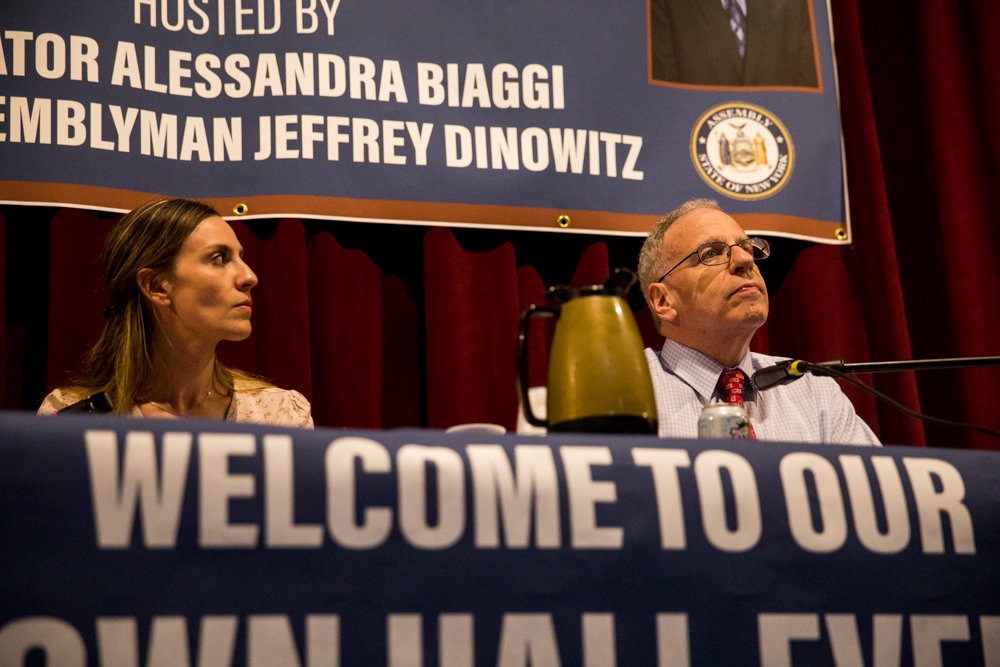 Both state Sen. Alessandra Biaggi and Assemblyman Jeffrey Dinowitz, shown here at a town hall in July, have received perfect scores from the New York League of Conservation Voters for their legislative efforts to protect the environment.