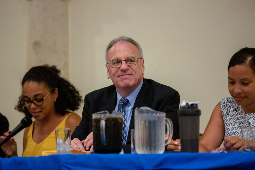 Assemblyman Jeffrey Dinowitz, seen here at Bronx Democratic County Committee meeting in August, is unsure what will become of the empty lot at 3735 Riverdale Ave., which has been vacant for nearly six years.