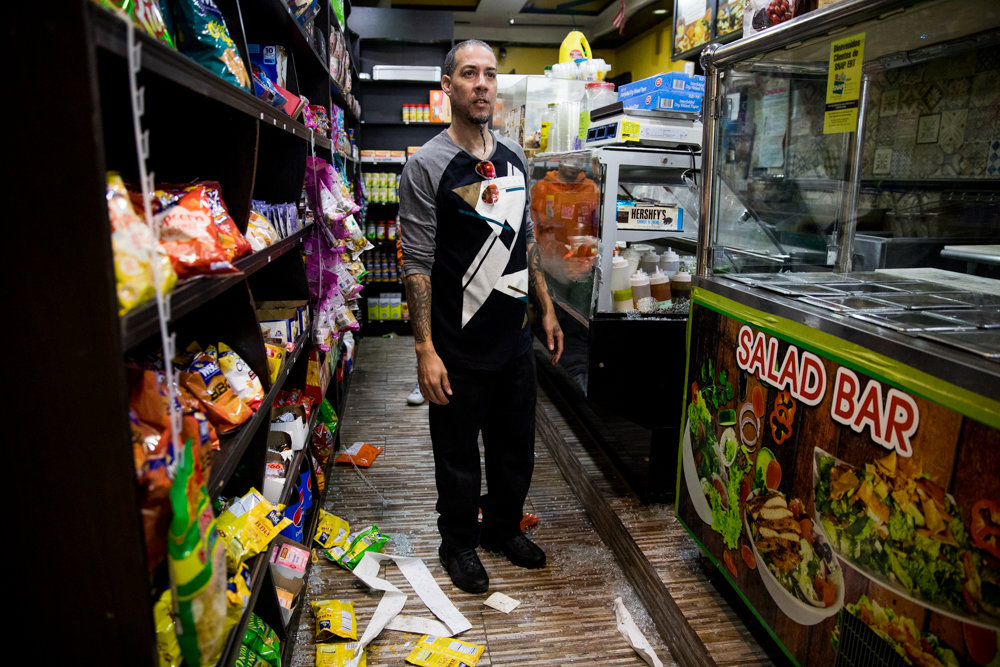 Ismael Diaz stands among shattered glass in his deli on West 238th Street on Ismael Diaz stands among shattered glass in his deli on West 238th Street. His business — along with two others — were burglarized overnight on Sept. 6 by what police believe were four men.Sept. 26. His business and two others were burglarized overnight by four men.