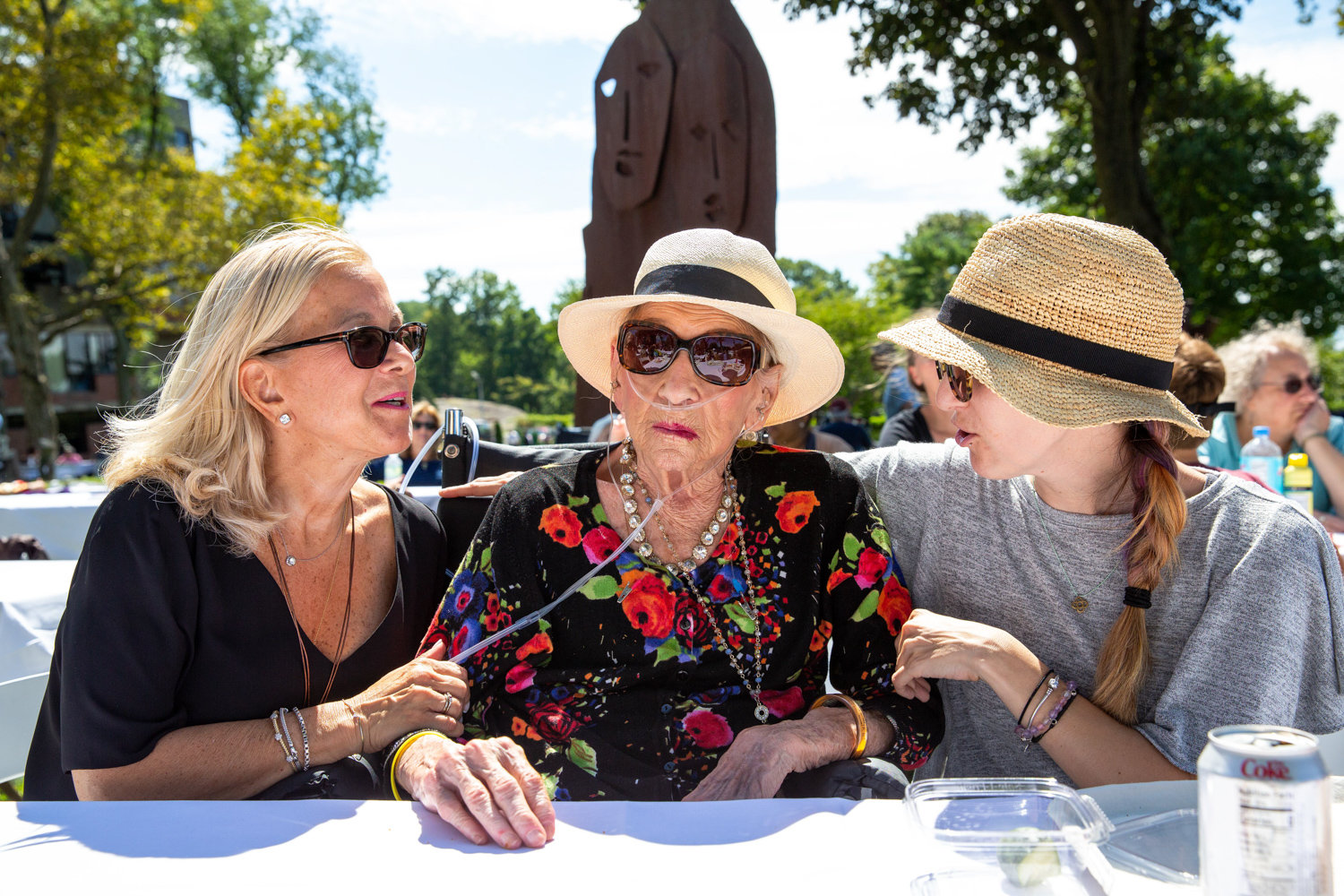 Helen Moses, 94, celebrates Grandparents Day with her daughter Zoë Gussoff, left, and granddaughter Surrah Gussoff at the birthplace of the American holiday, the Hebrew Home at Riverdale.