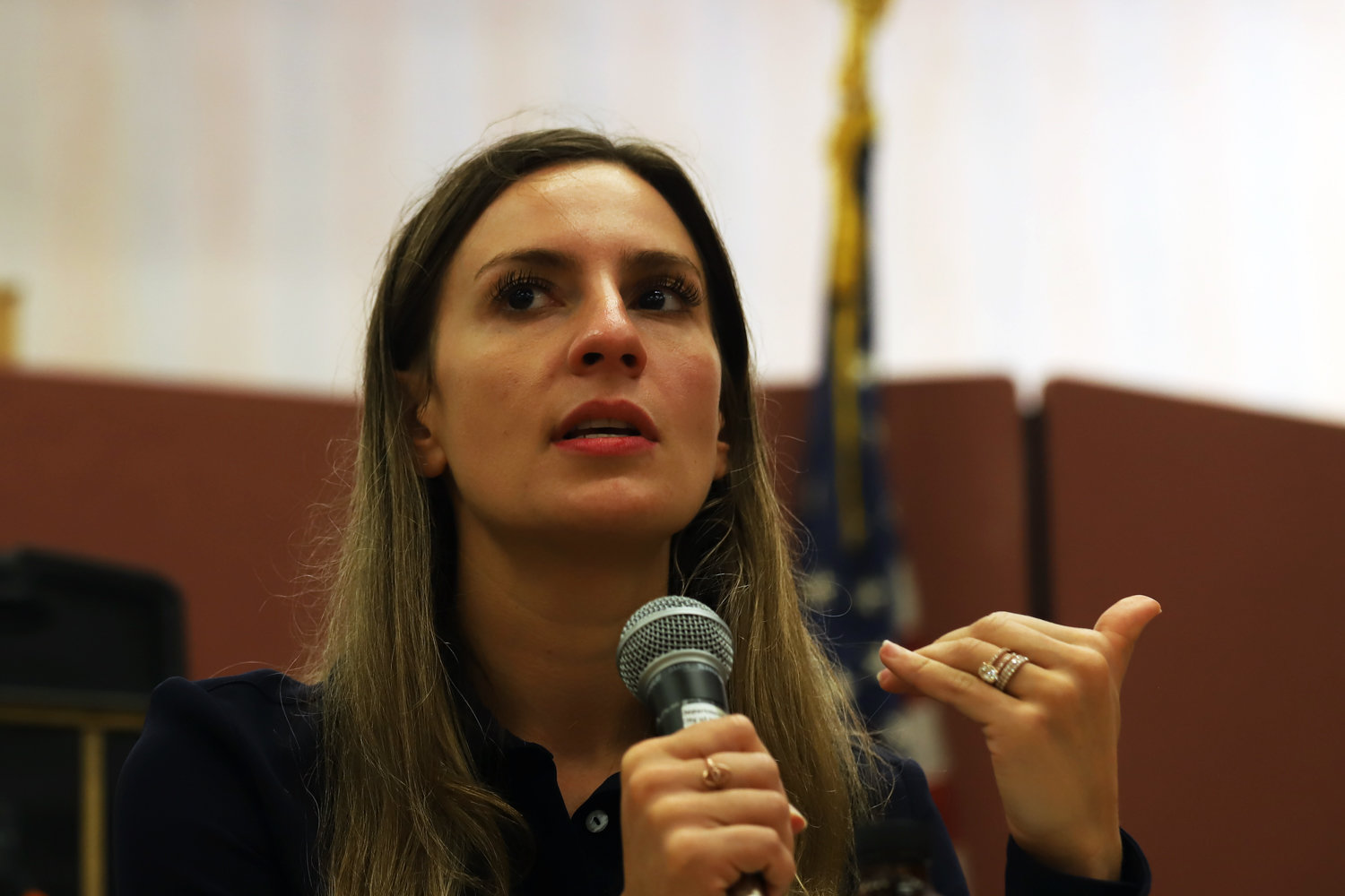 State Sen. Alessandra Biaggi speaks about her legislative successes and efforts since taking office in January at a brunch in her honor at the Van Cortlandt Jewish Center.