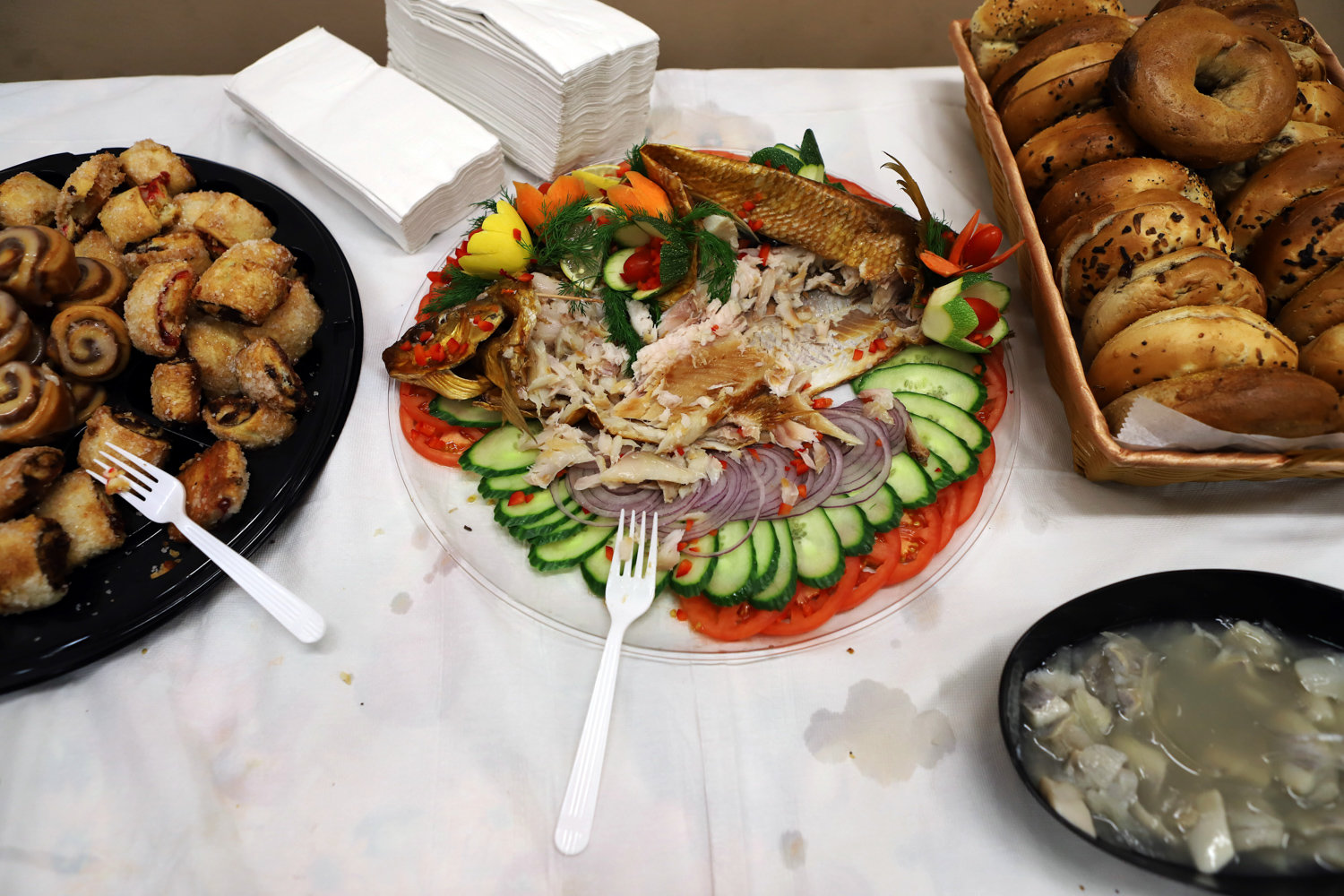 Attendees of a brunch in honor of state Sen. Alessandra Biaggi at the Van Cortlandt Jewish Center were able to feast on fish, bagels and rugelach, among other things.