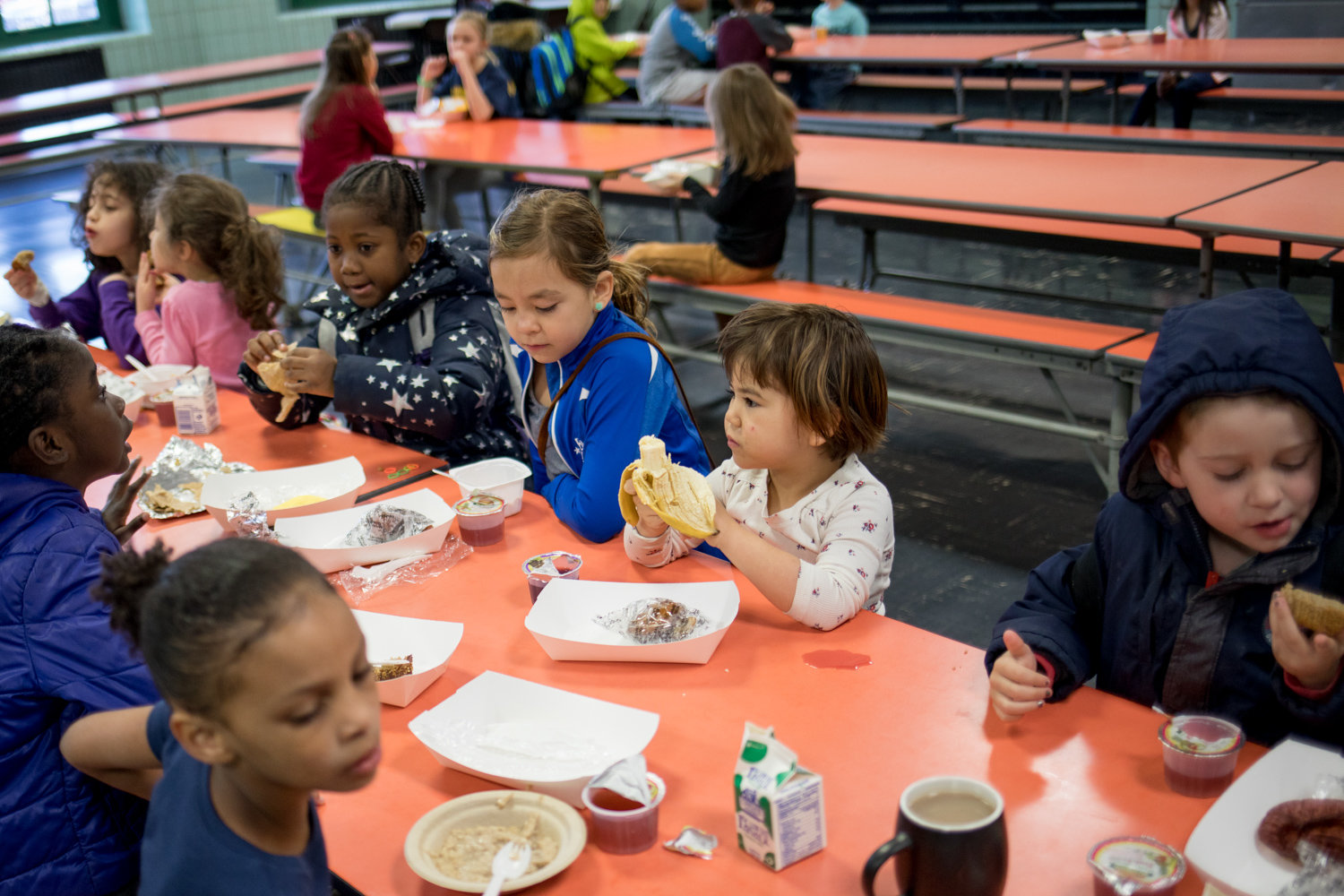 P.S. 24 students chow down on breakfast last year. If Councilman Fernando Cabrera had it his way, public schools would no longer offer processed meats, including bacon and hot dogs, in order to promote healthy eating.