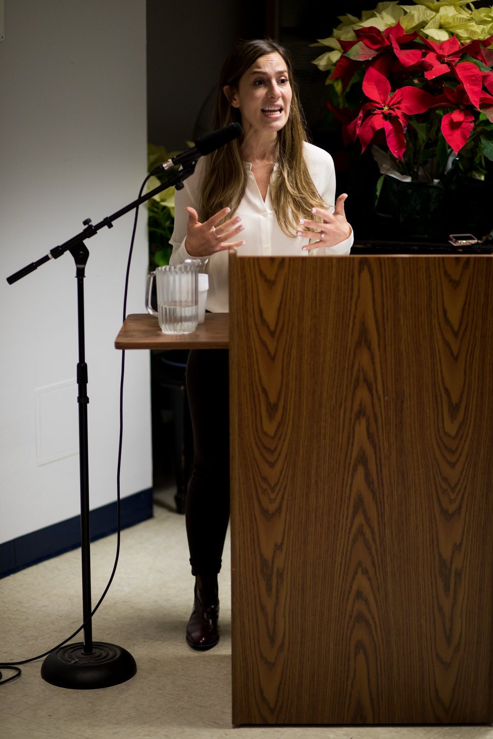 State Sen. Alessandra Biaggi speaks about the New York Health Act at RSS-Riverdale Senior Services in February.