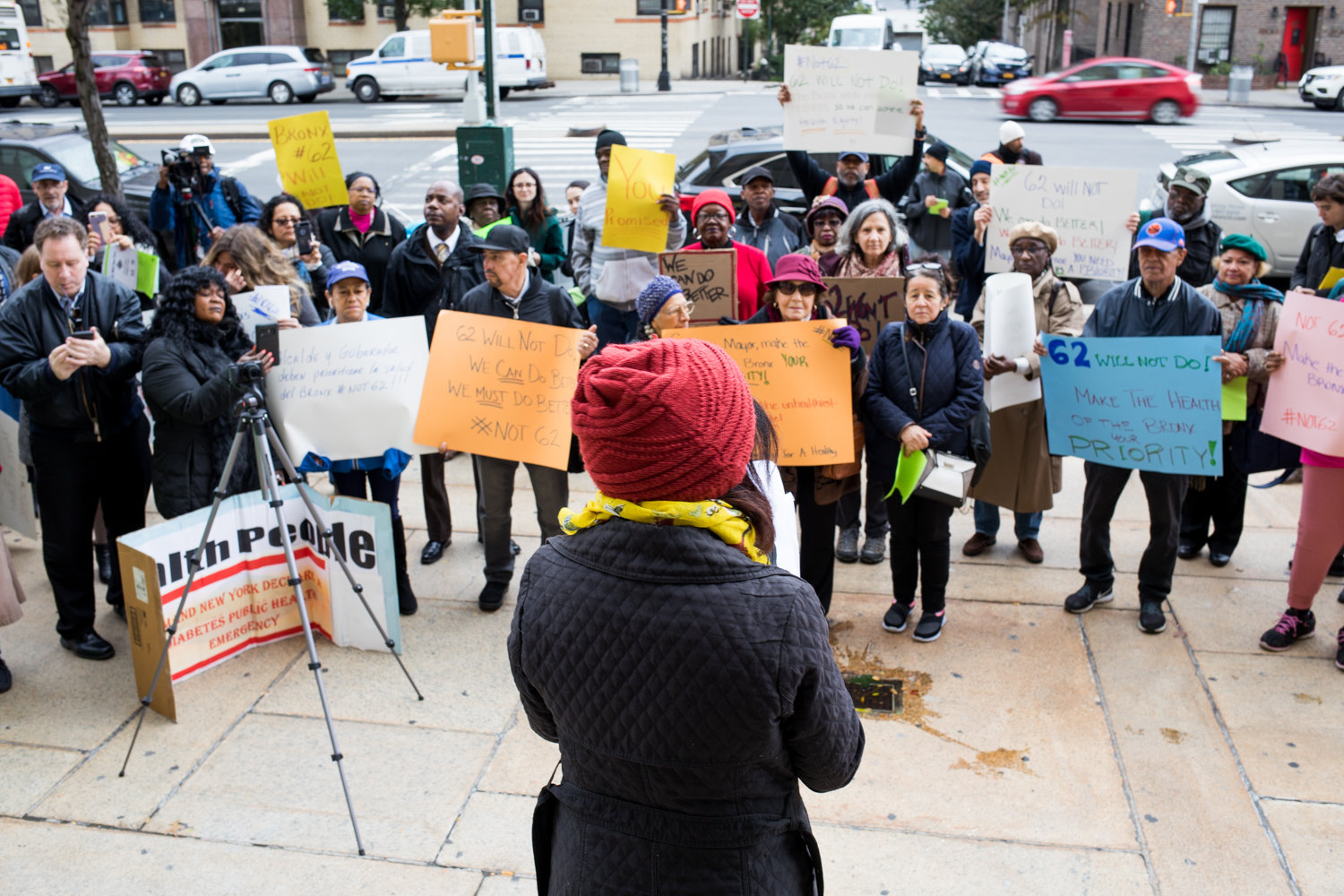 Charmaine Ruddock, the project director for Bronx Health Reach, speaks at a rally last year calling for improvements in health care in the Bronx, which ranked last out of the 62 counties in New York in the County Health Rankings and Roadmaps Report.
