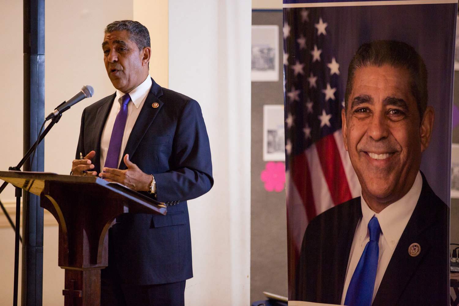 U.S. Rep. Adriano Espaillat makes the case for the impeachment of Donald Trump during an Oct. 7 forum at Fort Washington Collegiate Church.