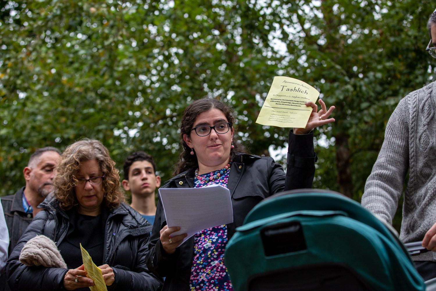 Rabbi Katie Greenberg talks about the importance of the Tashlich ceremony near Delafield Pond. Greenberg and other faith leaders gathered near the pond to call attention to the plight of asylum seekers.