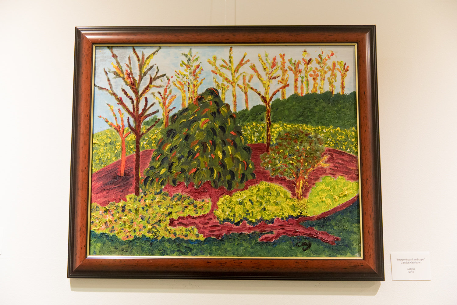 Carolyn Graybow's painting 'Interpreting a Landscape' is included in the exhibition 'Tree Time,' on display at The Riverdale Y through Nov. 3.