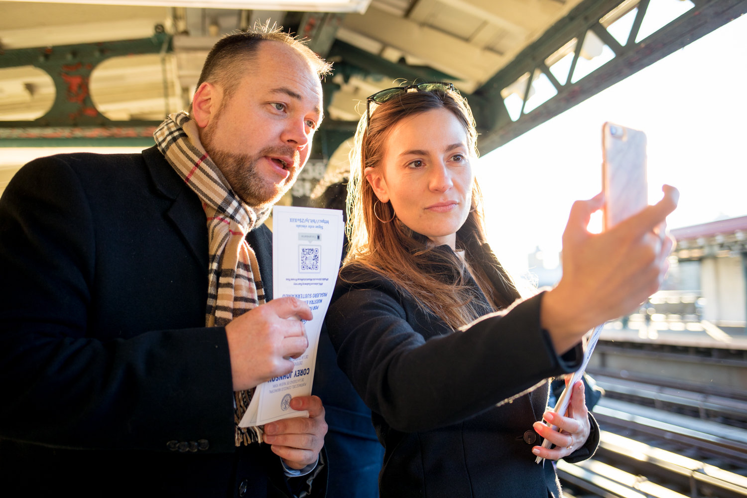 City council Speaker Corey Johnson and state Sen. Alessandra Biaggi record a video on Instagram during a transit tour in January. Johnson wants to break the city's 'car culture' to make streets and roads less congested, help the environment, and improve public transit.