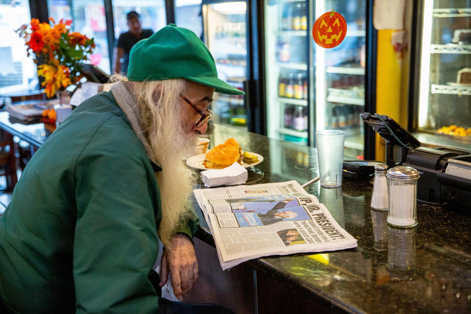 A Dale Diner regular reads a newspaper while enjoying a mid-afternoon meal at the historic, 24 hour eatery on West 231st Street eatery.
