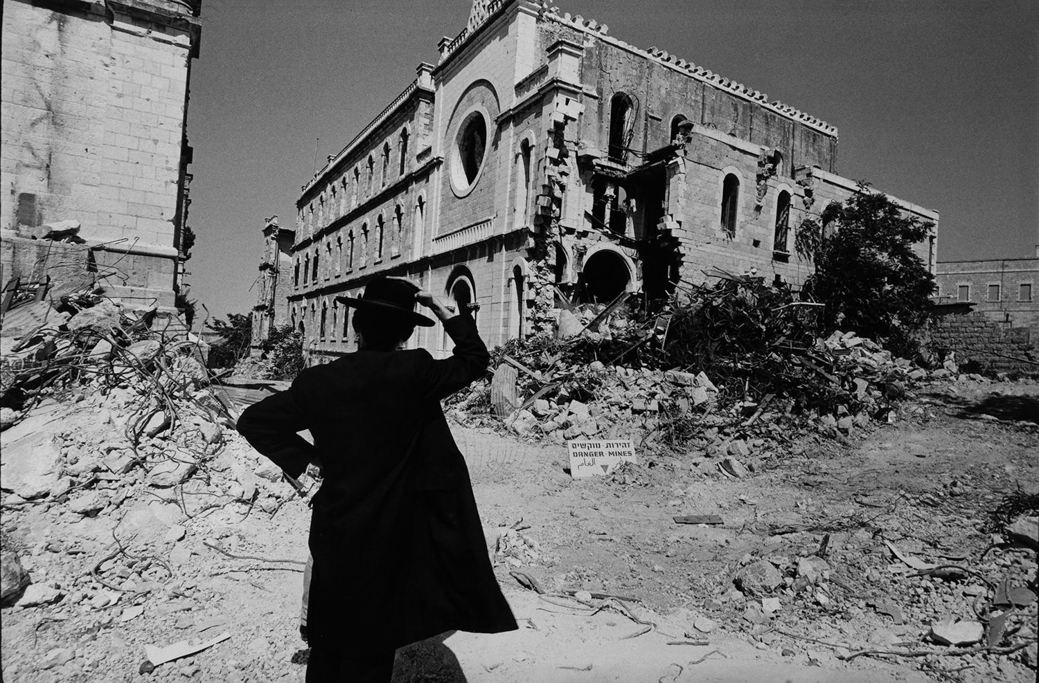 A man looks toward what was then known as 'Notre Dame de France' in Jerusalem, in a 1967 photograph by Leonard Freed. A new exhibition of his work, 'Leonard Freed: Israel Magazine 1967-1968' is on display at the Hebrew Home at Riverdale's Derfner Judaica Museum through Jan. 5.