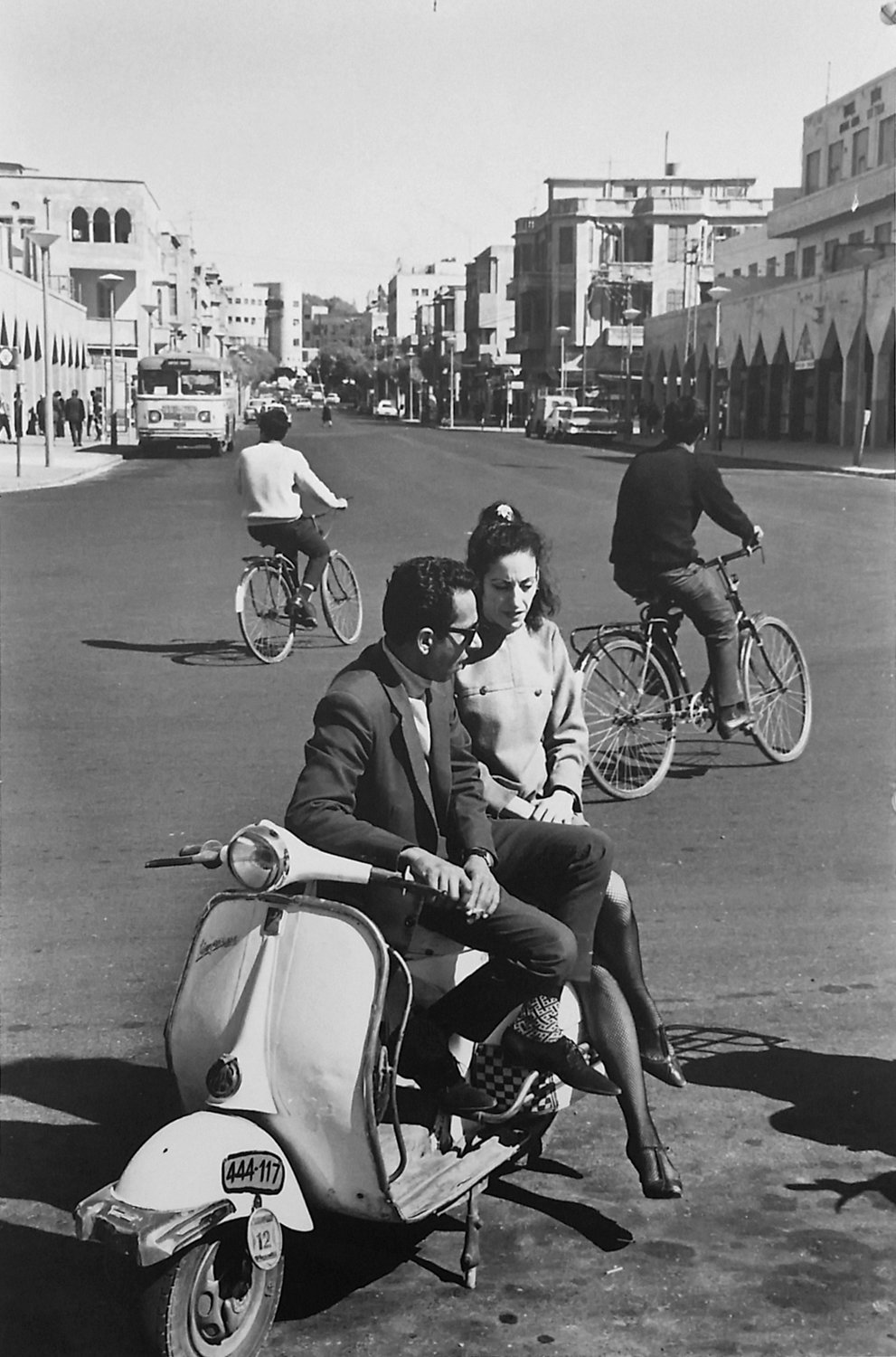 Leonard Freed photographed a couple on a scooter in Tel Aviv in 1968.