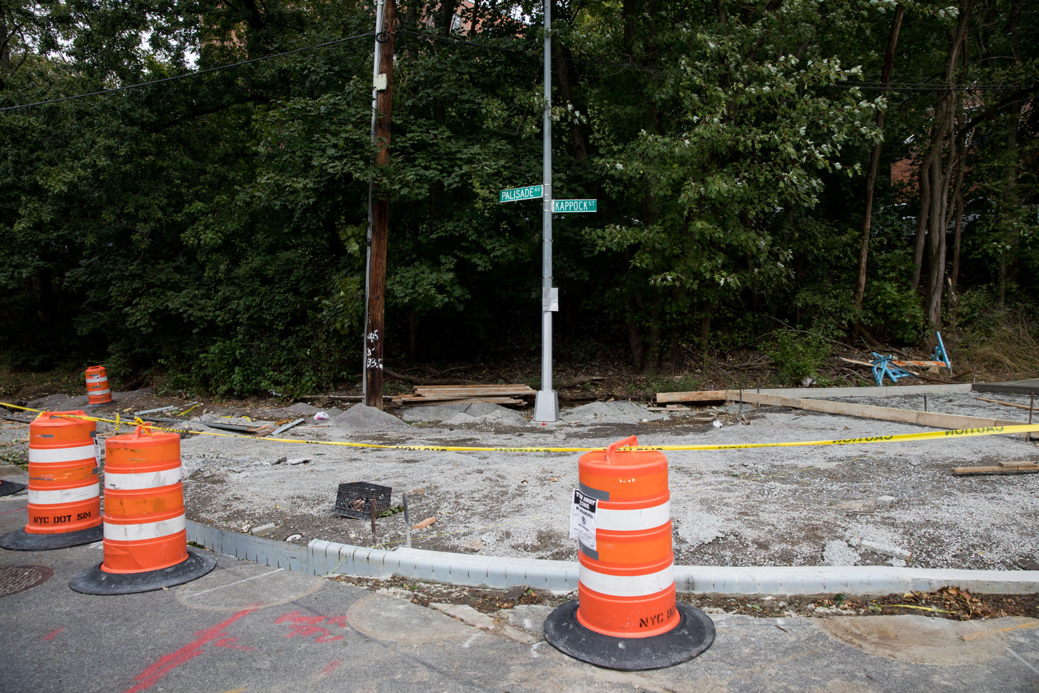 The intersection of Kappock Street and Palisade Avenue is getting more ambulatory real estate thanks to curb extensions, but some neighbors surrounding the work have mixed feelings about the changes.