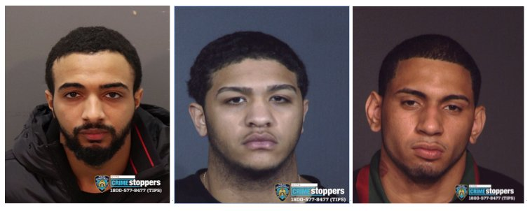 New York Police Department investigators are looking for three men they believe have information or are connected to a string of robberies that began last August in Kingsbridge, and has since hit others parts of the Bronx and Manhattan. The persons of interest include, from left, Bryan Lloret, Gilberto Garcia and Brian Rodriguez. Anyone with information on any of their whereabouts are urged to contact CrimeStoppers.