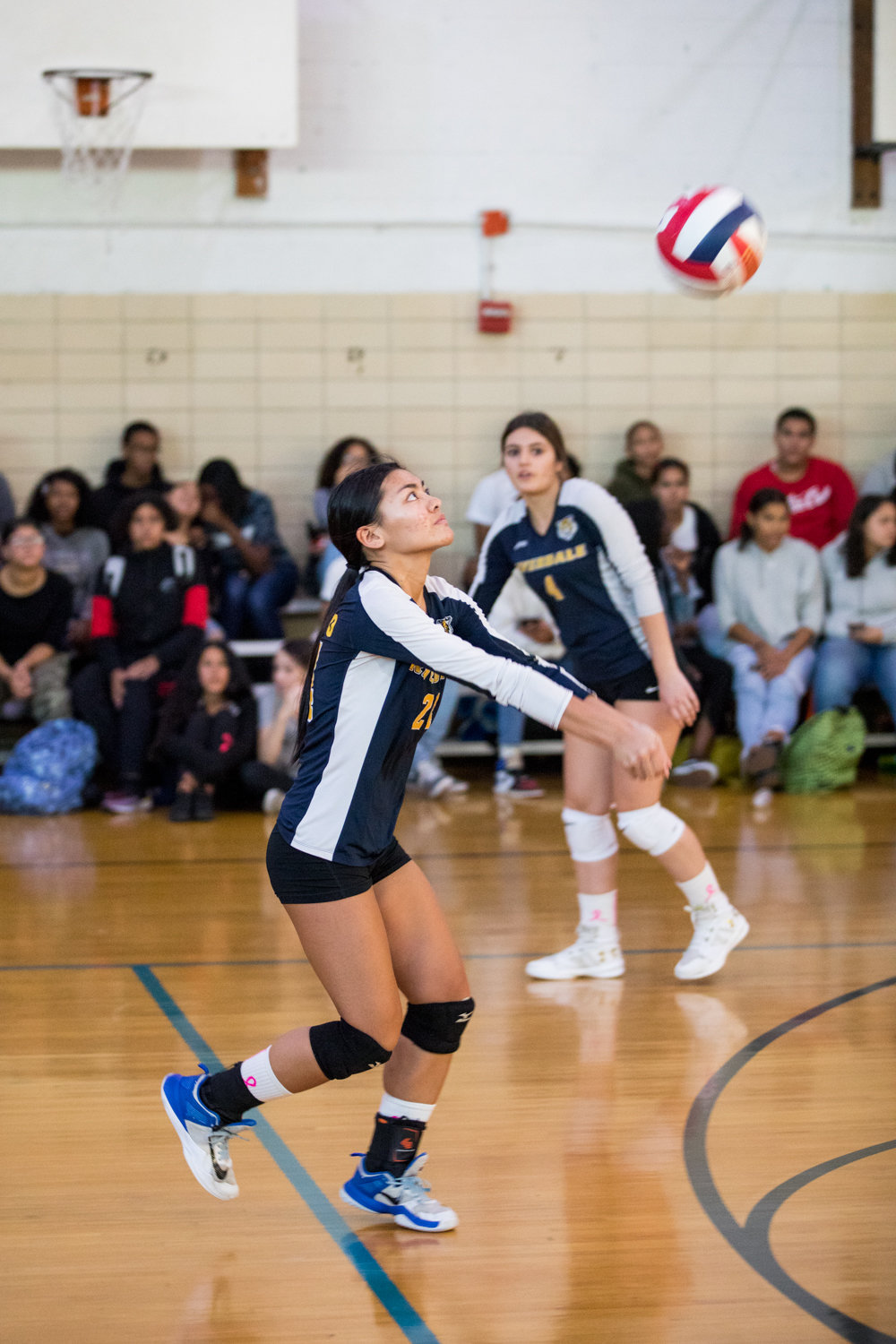 Riverdale/Kingsbridge Academy senior co-captain Patricia Casino sets up a Lady Tigers' teammate with one of her 16 assists in RKA's 25-13, 25-10 victory over Lehman last week.