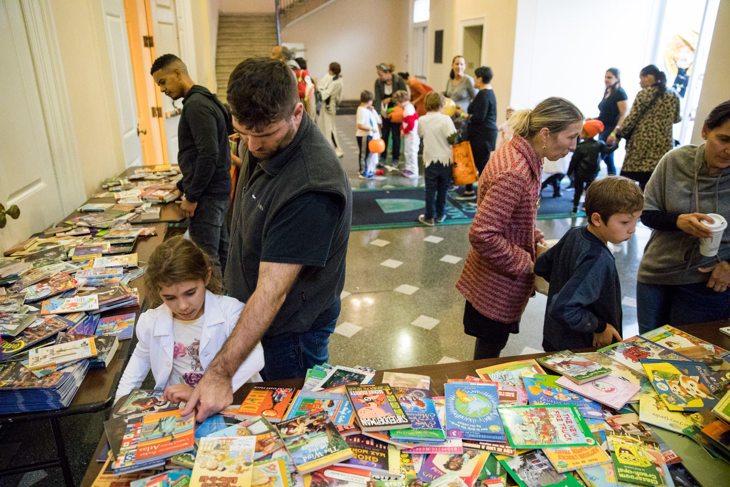 While children got their sugary fix at Manhattan College's Safe Halloween event, they also were able to get their literary fix with a selection of children's books.