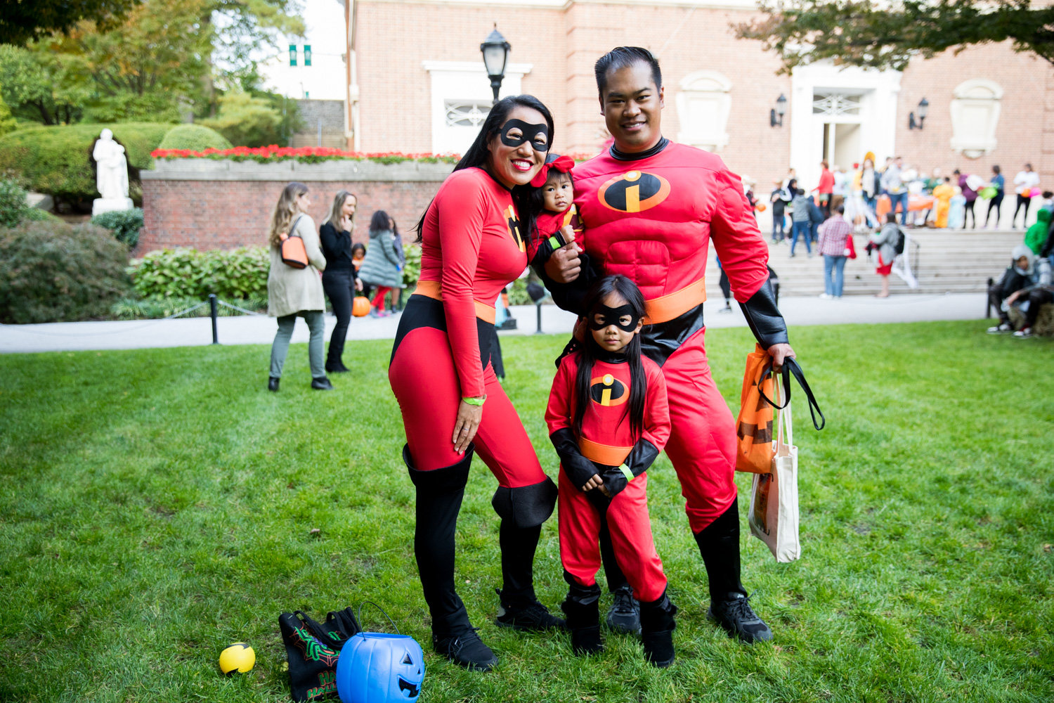 The Viola family decided to coordinate their costumes this year for Manhattan College's Safe Halloween event and go as the Parr family from the Pixar film 'The Incredibles.'