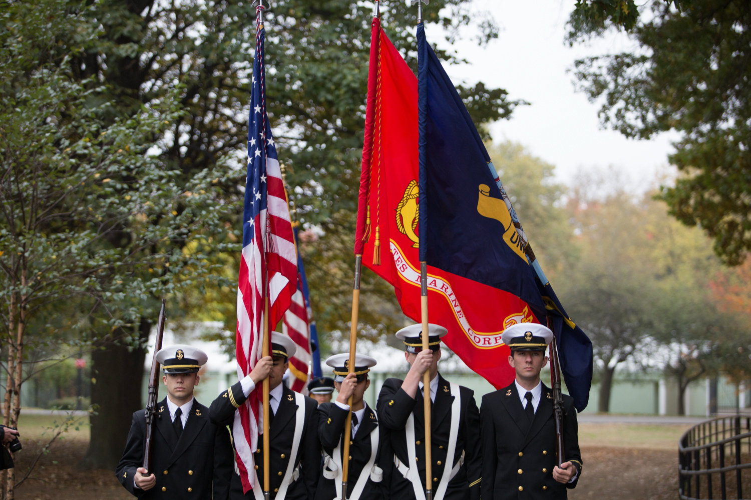Maritime Navy ROTC members present the colors at the opening of a Veterans Day ceremony at Memorial Grove in 2017. Local veteran Herb Barret first organized the ceremony in 2007 when he sought to restore the Van Cortlandt Park location with his friend and fellow veteran, the late Donald Tannen.